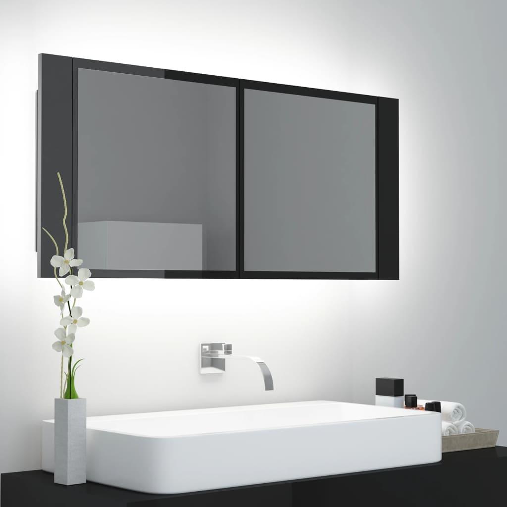 LED kupaonski ormarić s ogledalom sjajni crni 100 x 12 x 45 cm