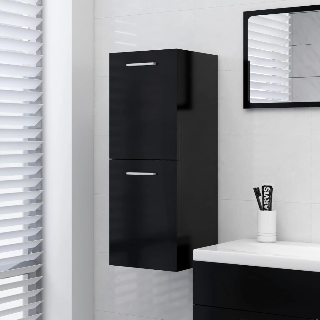 Koupelnová skříňka černá 30 x 30 x 80 cm dřevotříska