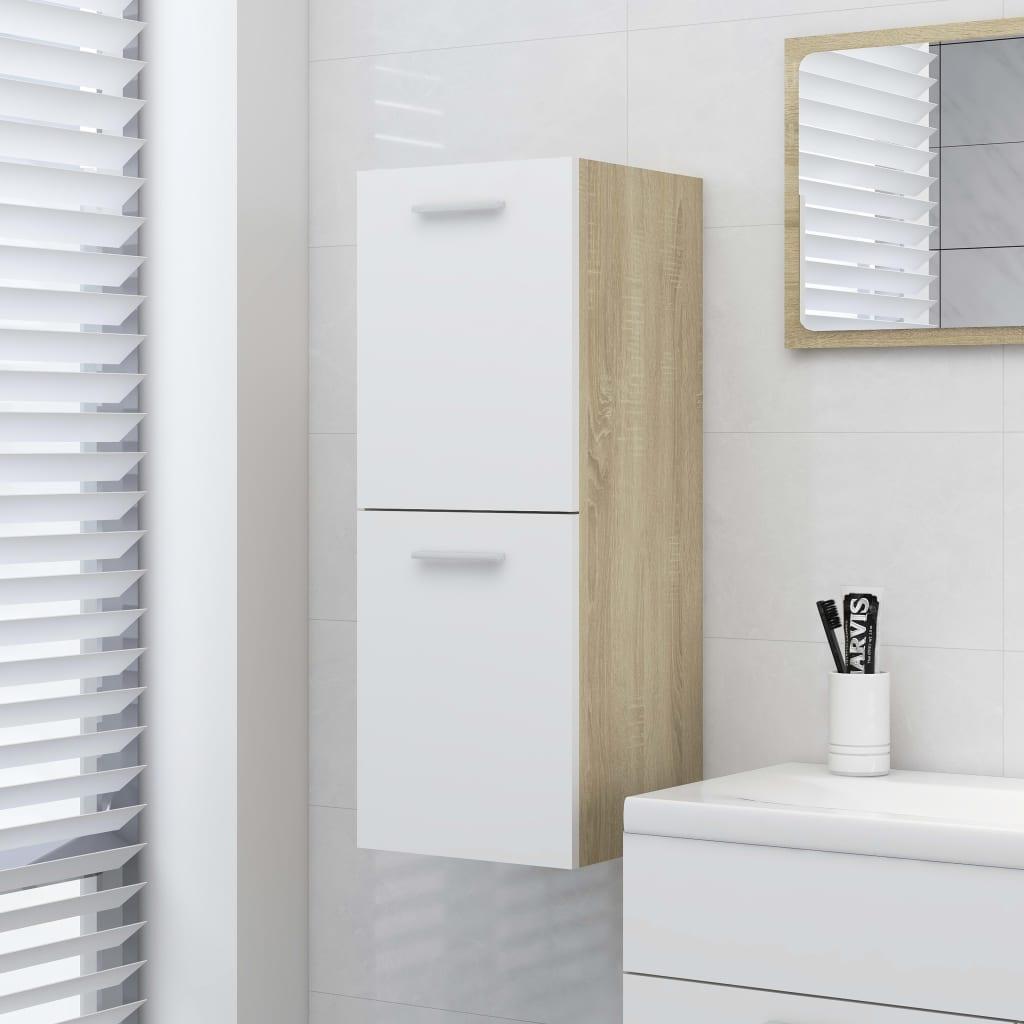 Koupelnová skříňka bílá dub sonoma 30 x 30 x 80 cm dřevotříska