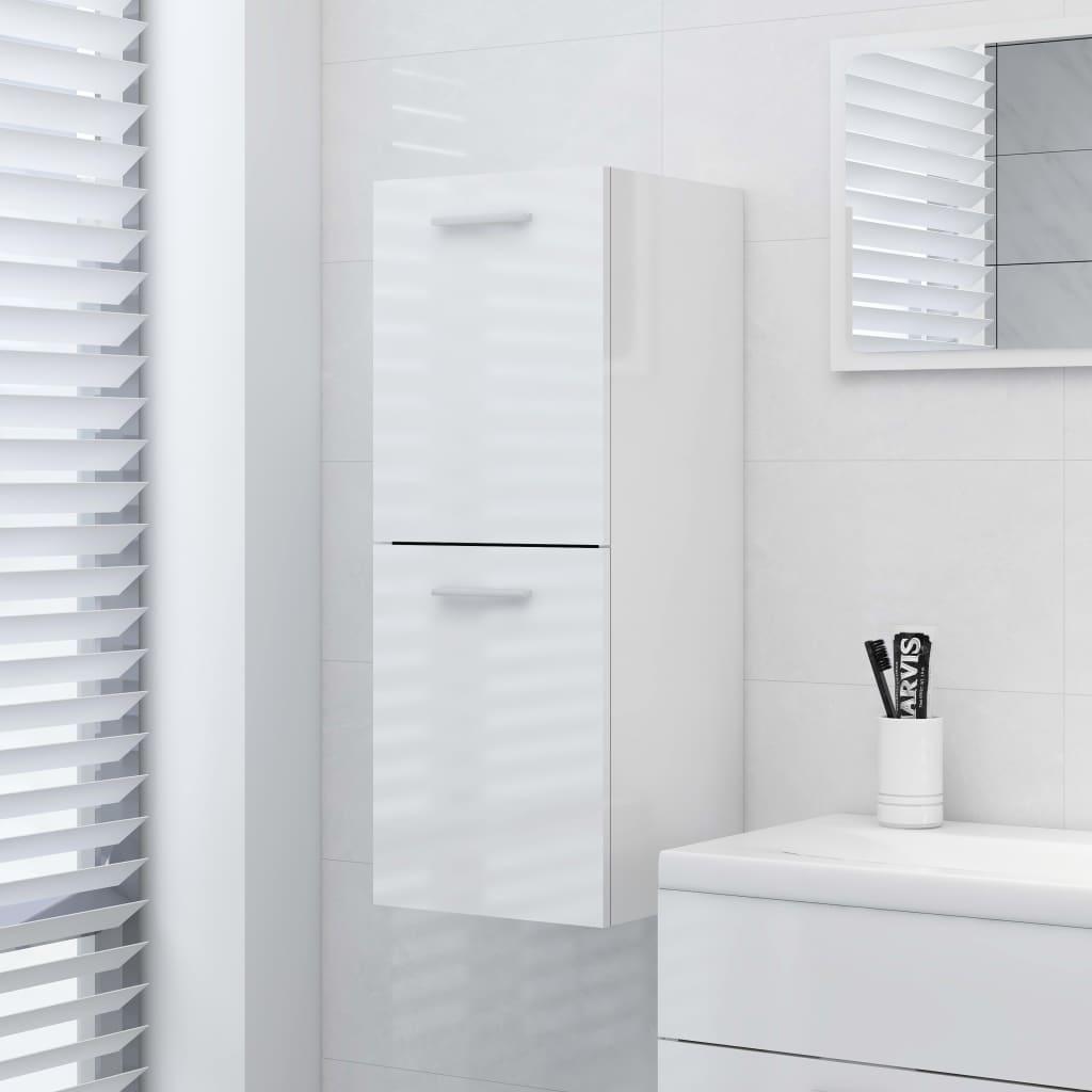 Koupelnová skříňka bílá vysoký lesk 30 x 30 x 80 cm dřevotříska