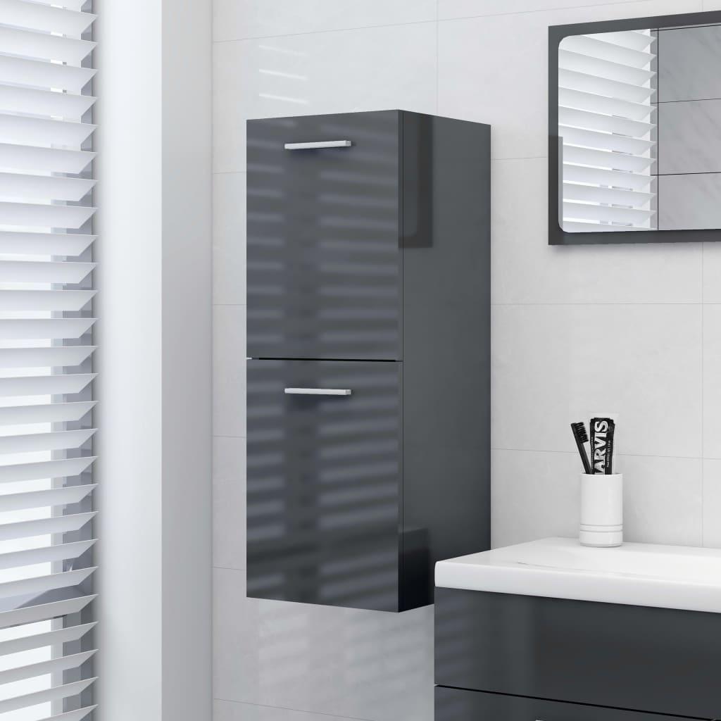 Koupelnová skříňka šedá vysoký lesk 30 x 30 x 80 cm dřevotříska