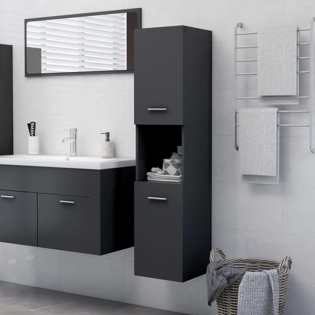 Koupelnová skříňka šedá 30 x 30 x 130 cm dřevotříska