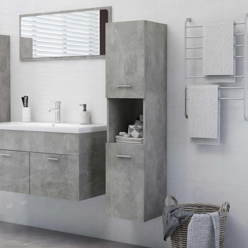 Kupaonski ormarić siva boja betona 30 x 30 x 130 cm od iverice