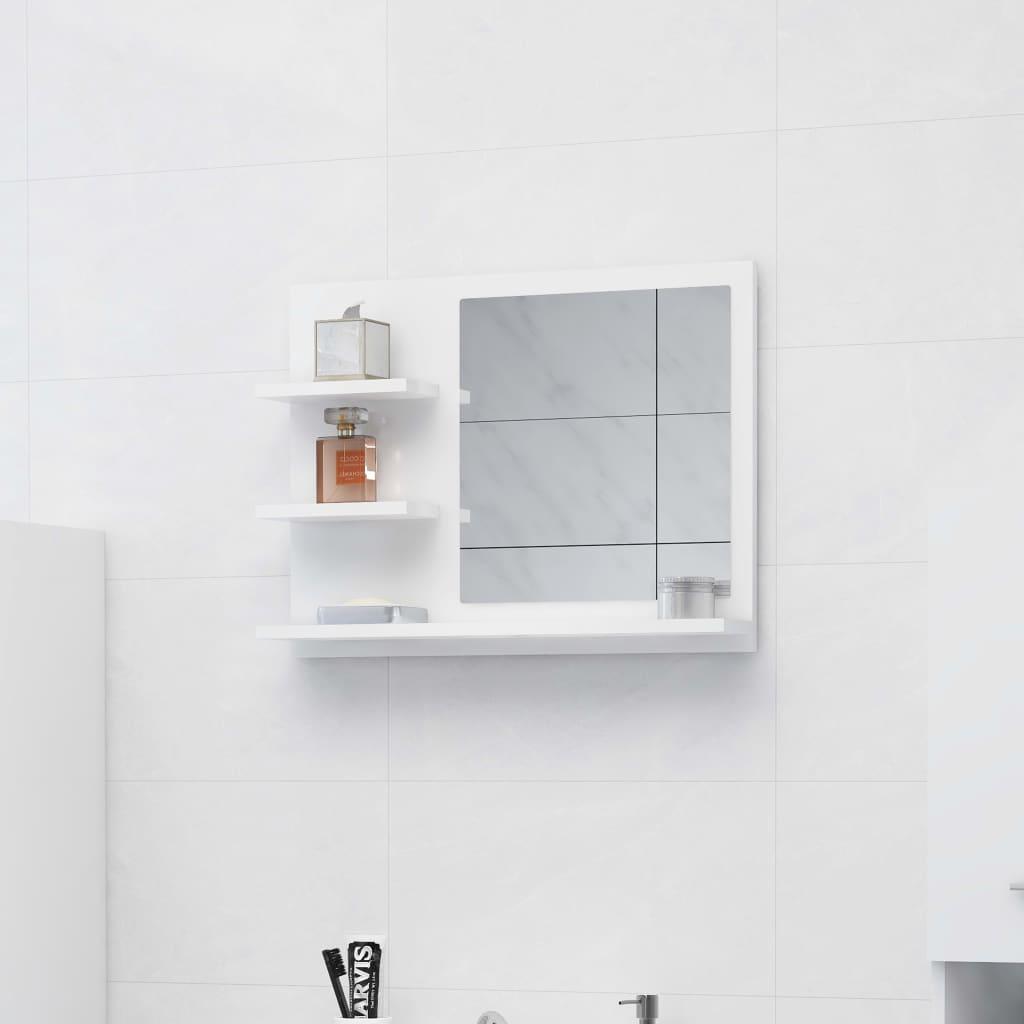 vidaXL Oglindă de baie, alb extralucios, 60 x 10,5 x 45 cm, PAL vidaxl.ro