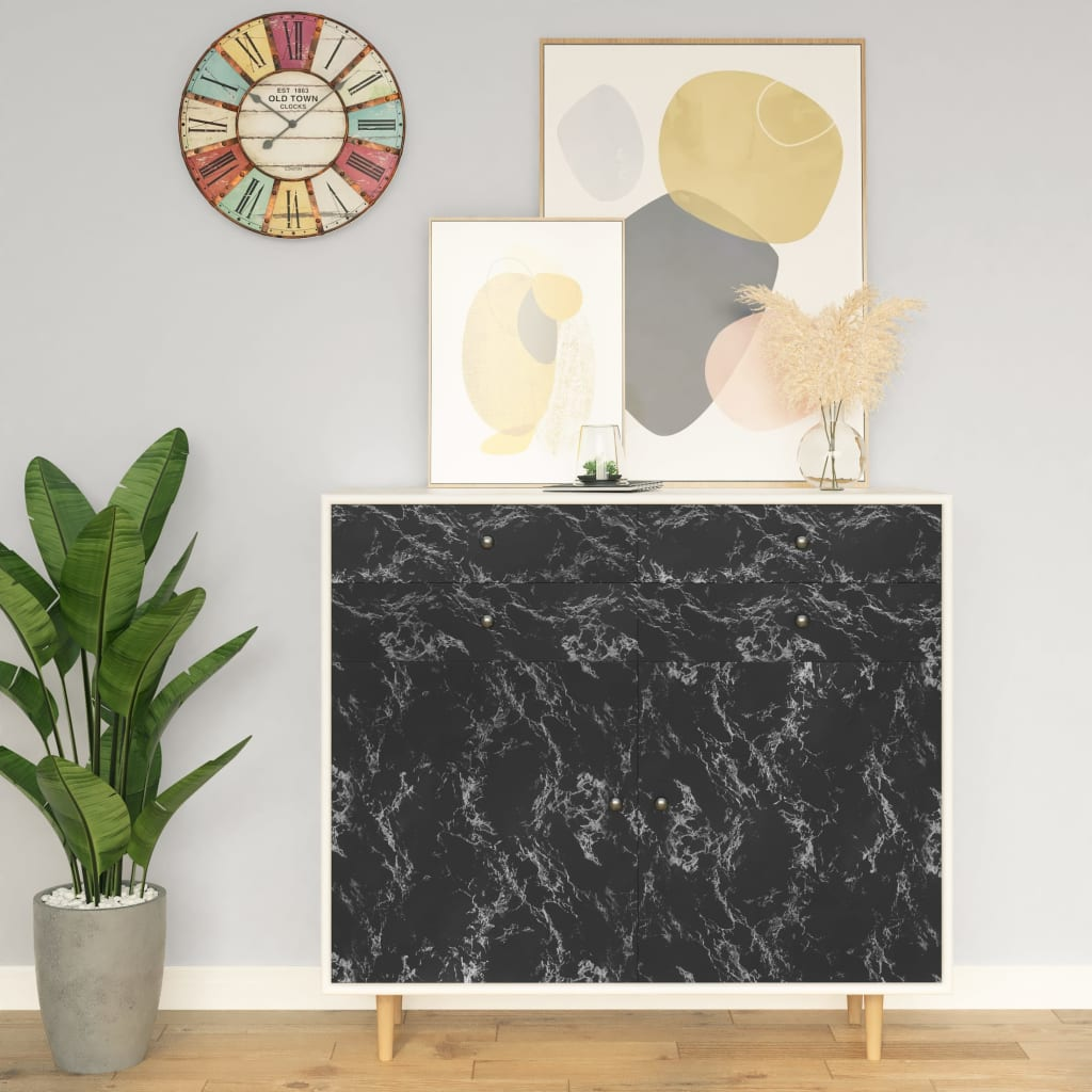 Samolepící tapeta na nábytek černý kámen 500 x 90 cm PVC