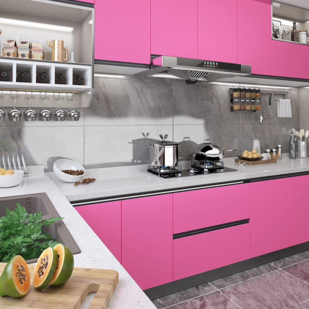 Samolepící tapeta na nábytek růžová vysoký lesk 500 x 90 cm PVC