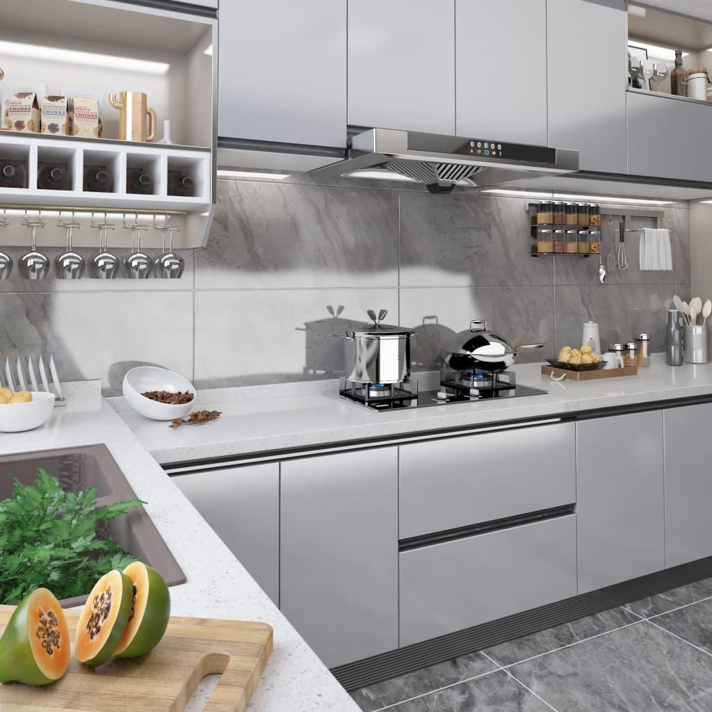 Samolepící tapeta na nábytek stříbrná vysoký lesk 500x90 cm PVC