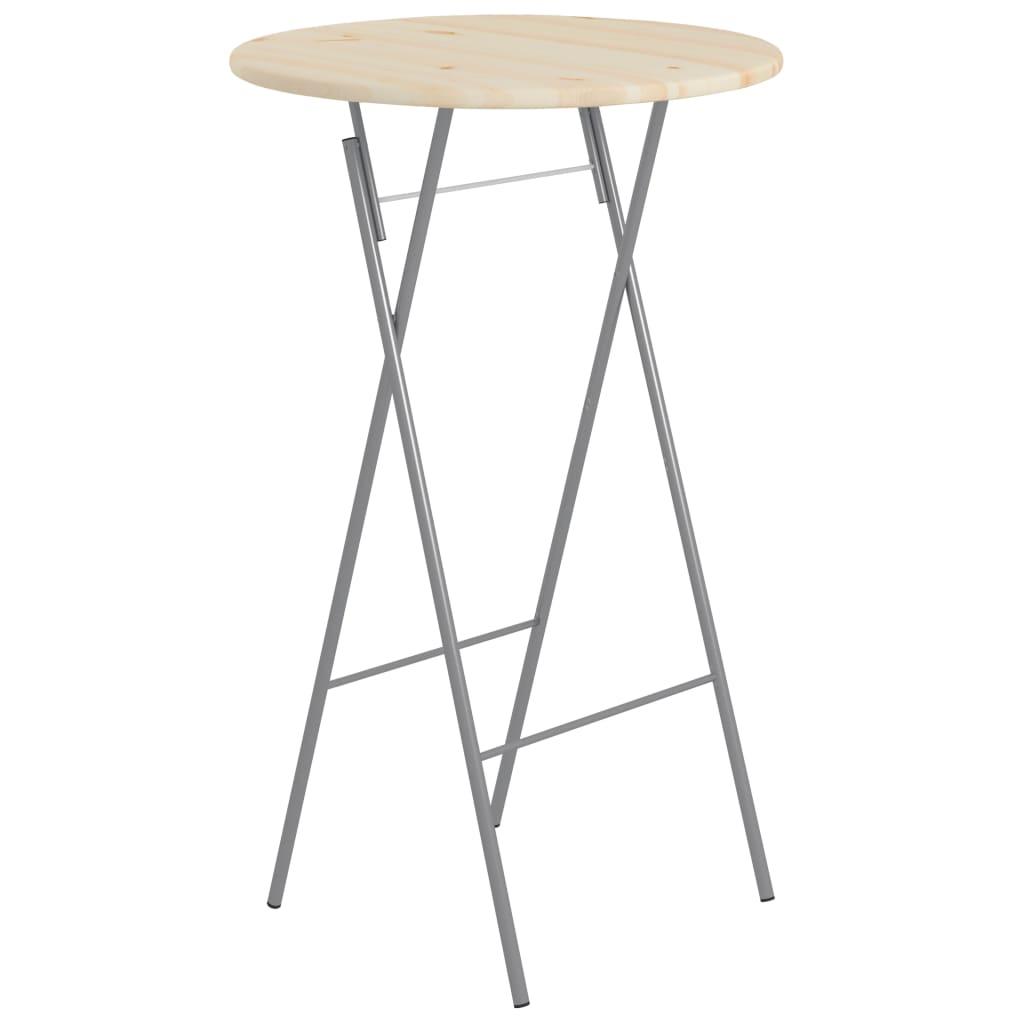 Skládací barový stolek 60 x 113 cm ocel a přírodní borové dřevo