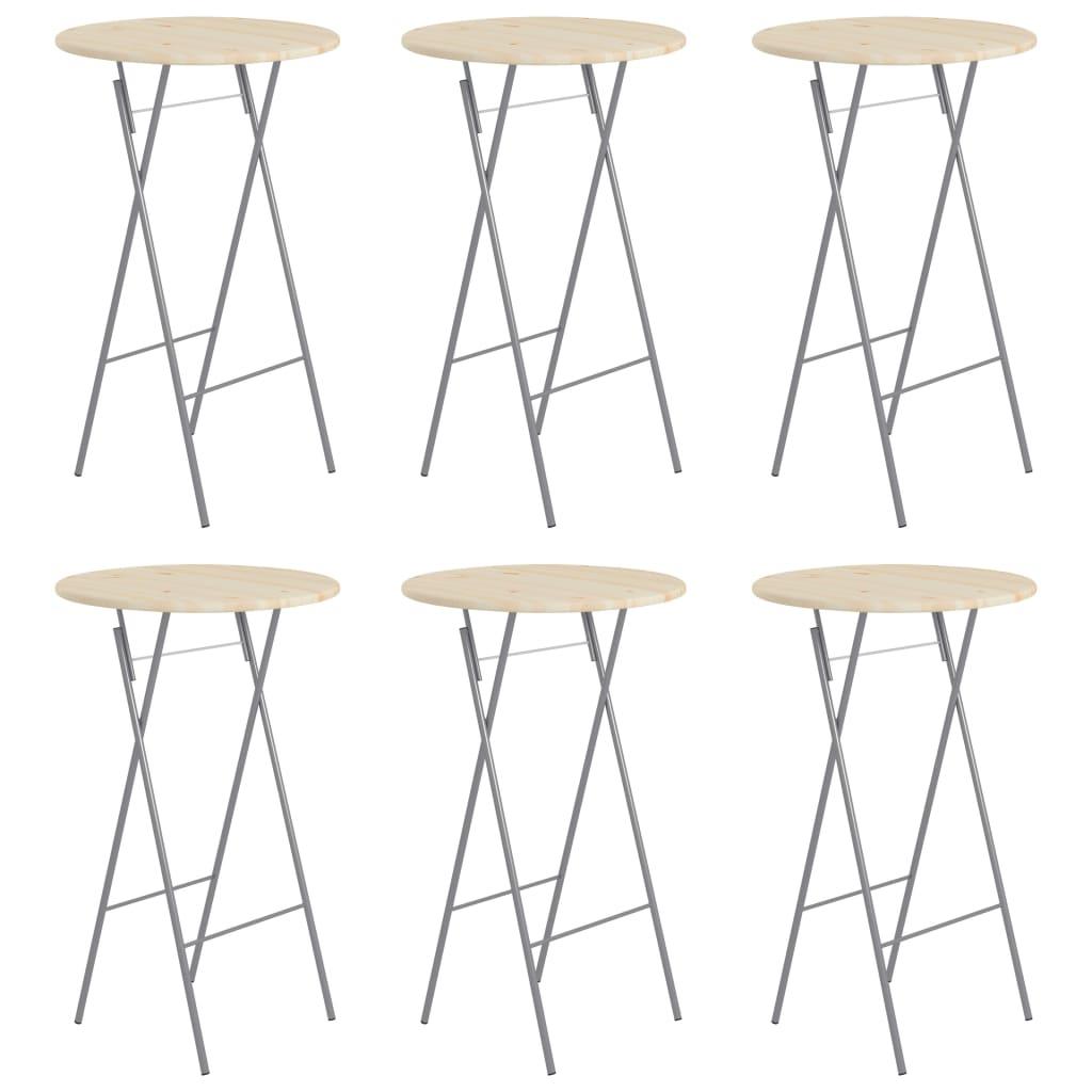 Skládací barové stolky 6 ks 60 x 113 cm ocel a přírodní borové dřevo