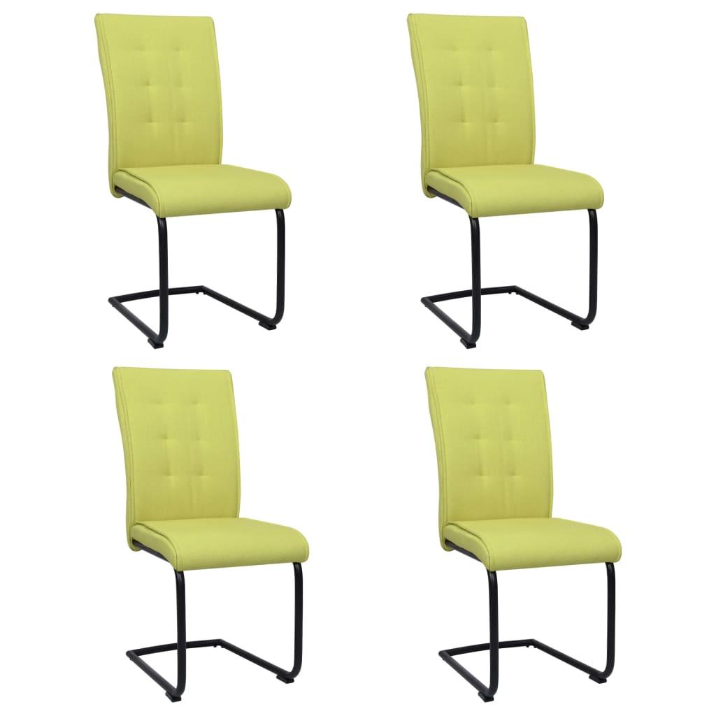 vidaXL spisebordsstole med cantilever 4 stk. stof grøn