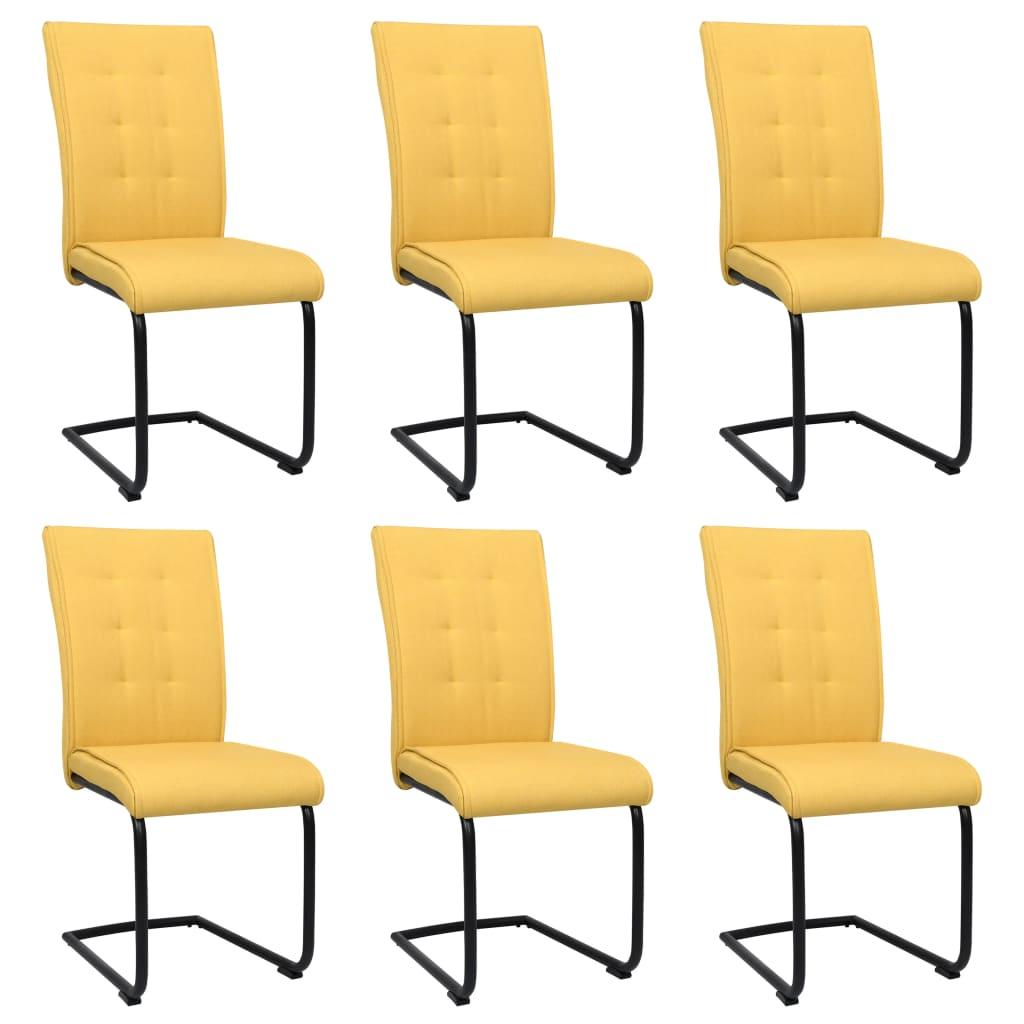 <ul><li>Farbe: Senfgelb</li><li>Material: Stoff (100% Polyester), pulverbeschichteter Stahl, Sperrholz</li><li>Füllung: Schaumstoff</li><li>Abmessungen: 45 x 58,5 x 97 cm (B x T x H)</li><li>Sitztiefe: 43 cm</li><li>Sitzhöhe vom Boden: 49 cm</li><li>Rückenlehnenhöhe vom Sitz: 52 cm</li><li>Freitragende Basis</li><li>Montage erforderlich: Ja</li><li><strong>Lieferung enthält:</strong></li><li>6 x Esszimmerstuhl</li></ul>