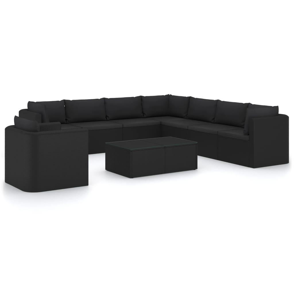 10-tlg. Garten-Lounge-Set mit Kissen Poly Rattan Schwarz