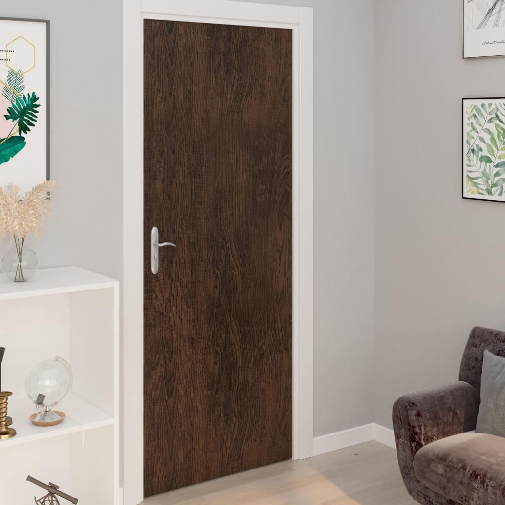 vidaXL Folii de ușă autoadezive, 4 buc., stejar închis, 210x90 cm, PVC imagine vidaxl.ro