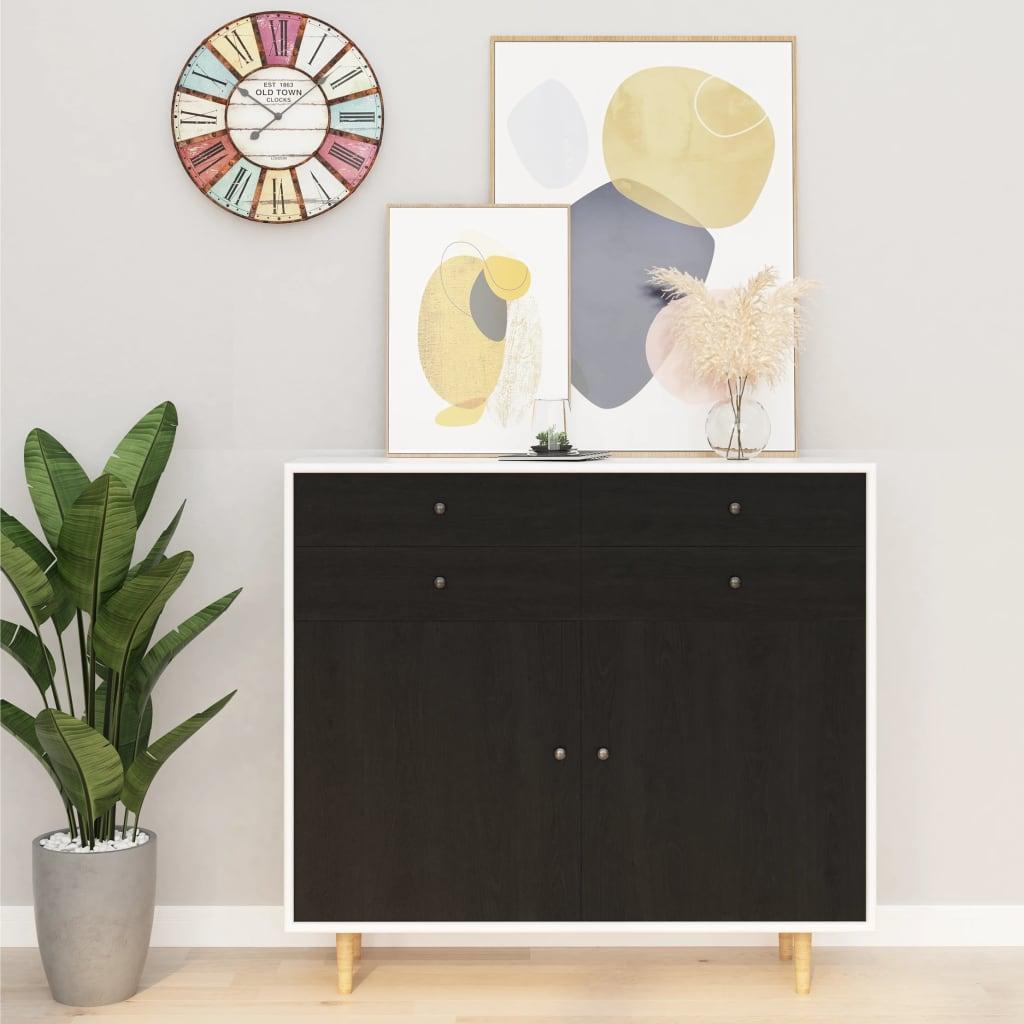 vidaXL Folii mobilier autoadezive, 2 buc., lemn închis, 500x90 cm, PVC imagine vidaxl.ro