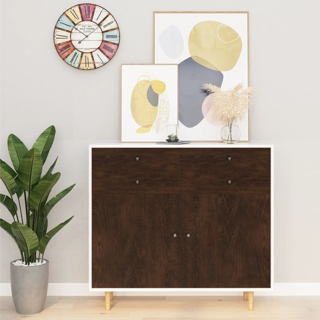 vidaXL Folii mobilier autoadezive, 2 buc. stejar închis, 500x90 cm PVC imagine vidaxl.ro