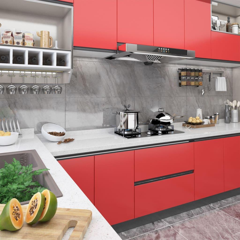 vidaXL Folii de mobilier autoadezive, 2 buc., roșu, 500 x 90 cm, PVC imagine vidaxl.ro