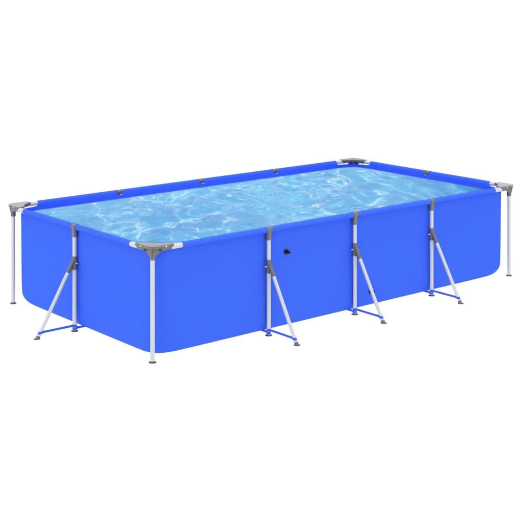 Bazén s ocelovým rámem 394 x 207 x 80 cm modrý