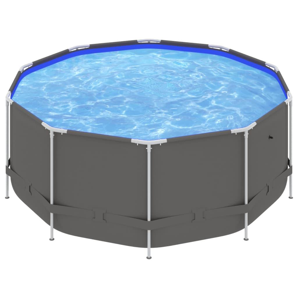 Bazén s ocelovým rámem 367 x 122 cm antracitový