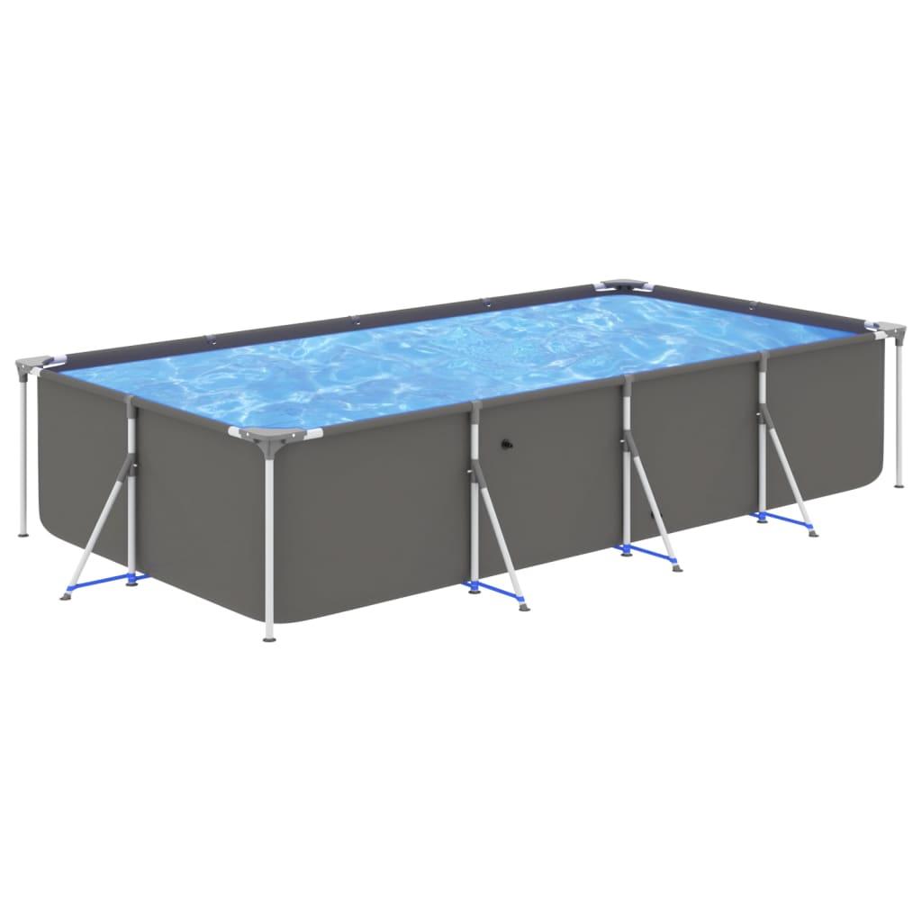 Bazén s ocelovým rámem 394 x 207 x 80 cm antracitový