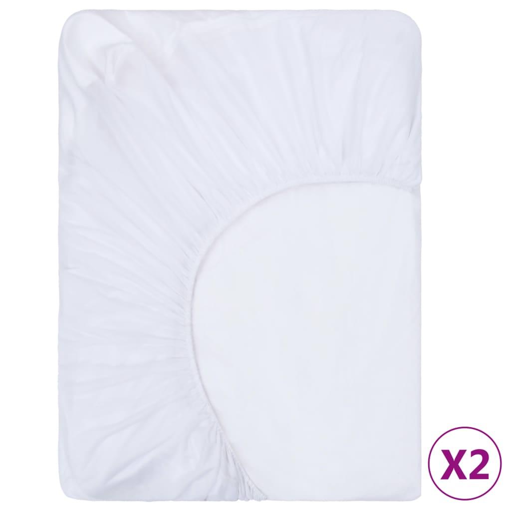 vidaXL Napínací prostěradlo voděodolné 2 ks bavlna 60 x 200 cm bílé