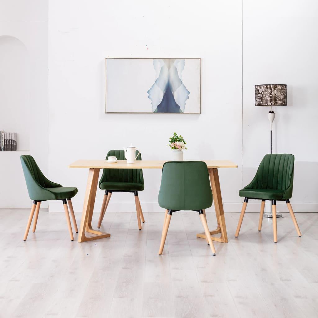 vidaXL Scaune de bucătărie, 4 buc., verde închis, catifea poza 2021 vidaXL