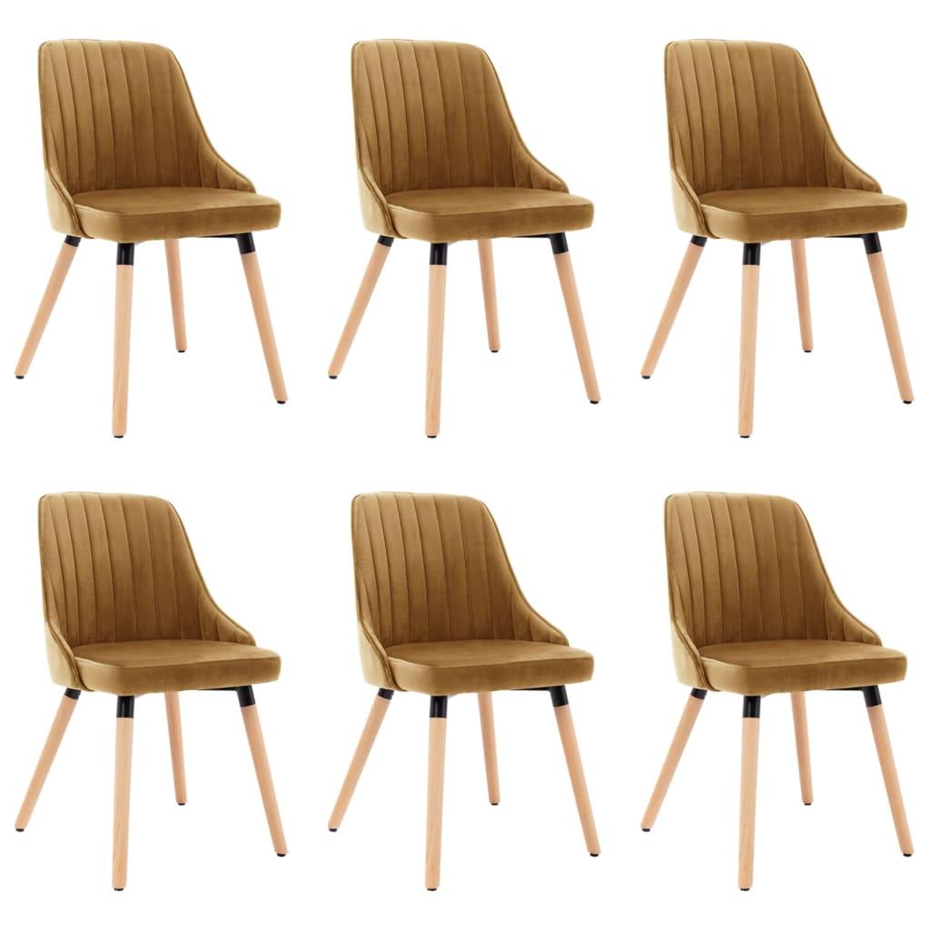 vidaXL spisebordsstole 6 stk. fløjl brun