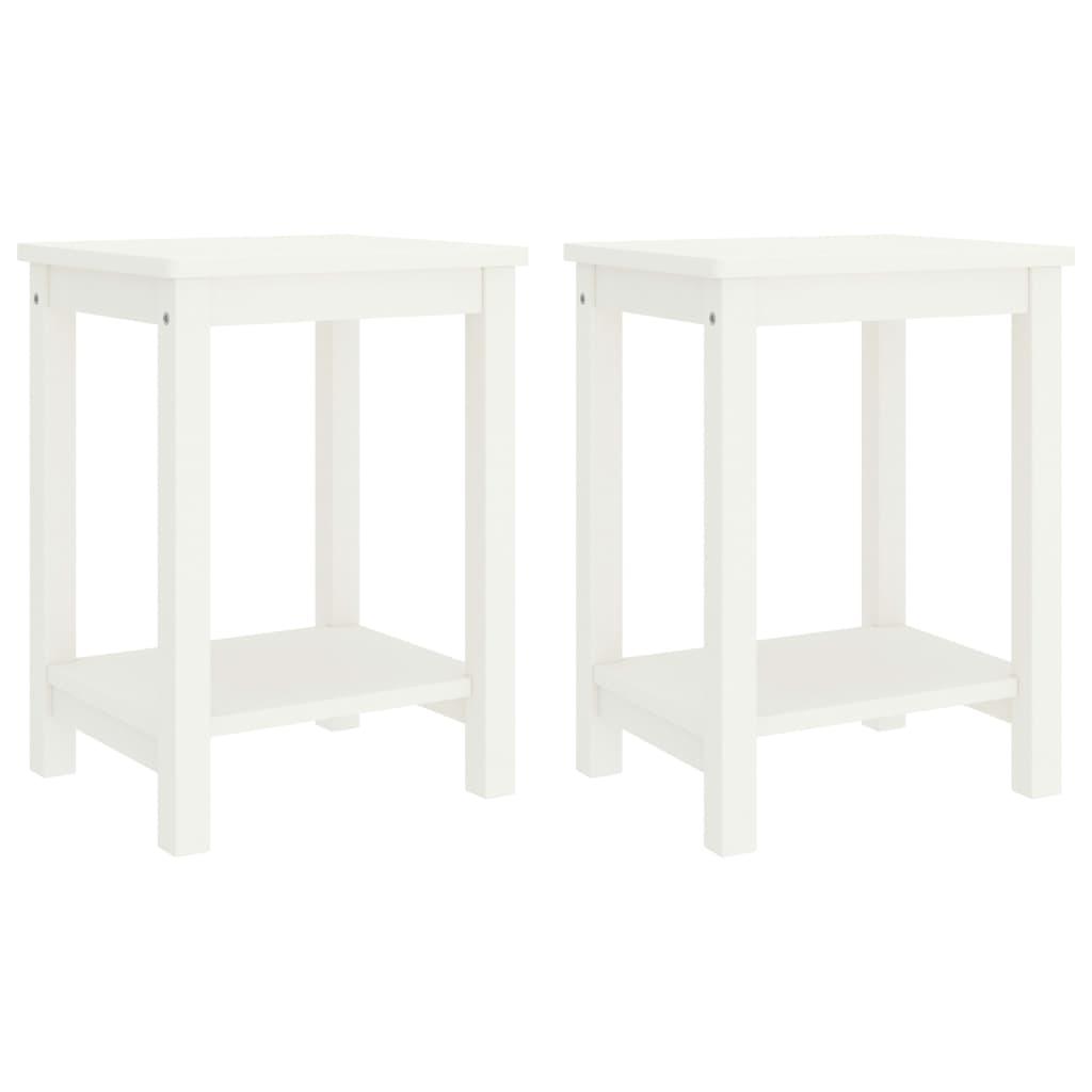 vidaXL Noptiere, 2 buc., alb, 35 x 30 x 47 cm, lemn masiv de pin poza vidaxl.ro