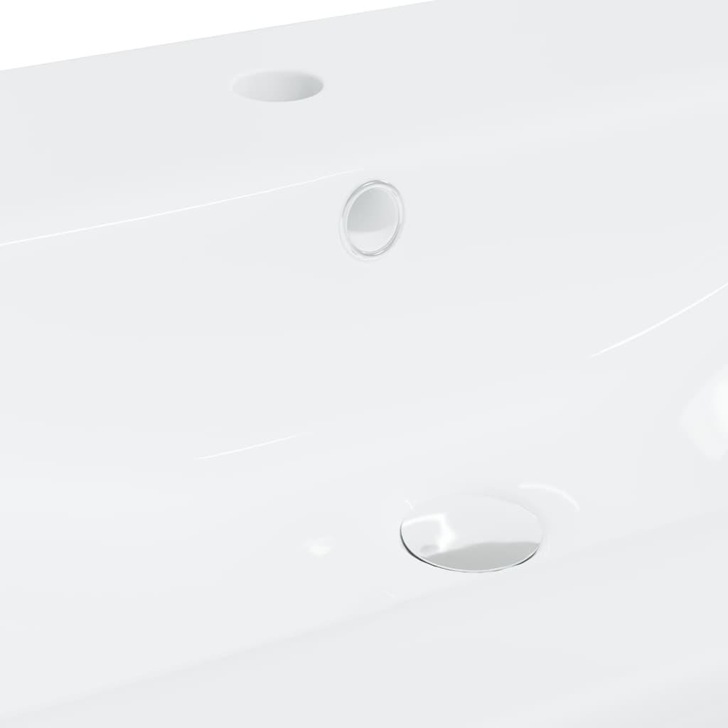 vidaXL Inbouwwastafel met kraan 81x39x18 cm keramiek wit