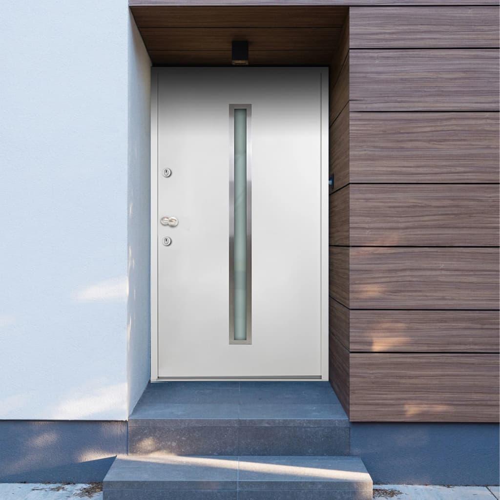 vidaXL Voordeur 110x207,5 cm aluminium wit