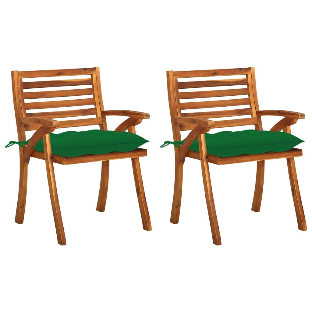 <ul><li>Kissen-Farbe: Grün</li><li>Stuhl-Material: Massives Akazienholz mit Ölfinish</li><li>Kissen-Material: Stoff (100% Polyester)</li><li>Abmessungen des Stuhls: 59 x 59 x 87 cm (B x T x H)</li><li>Abmessungen der Auflage: 50 x 50 x 7 cm (B x T x H)</li><li>Montage erforderlich: Ja</li><li><strong>Lieferung enthält:</strong></li><li>2 x Esszimmerstuhl</li><li>2 x Polster</li></ul>