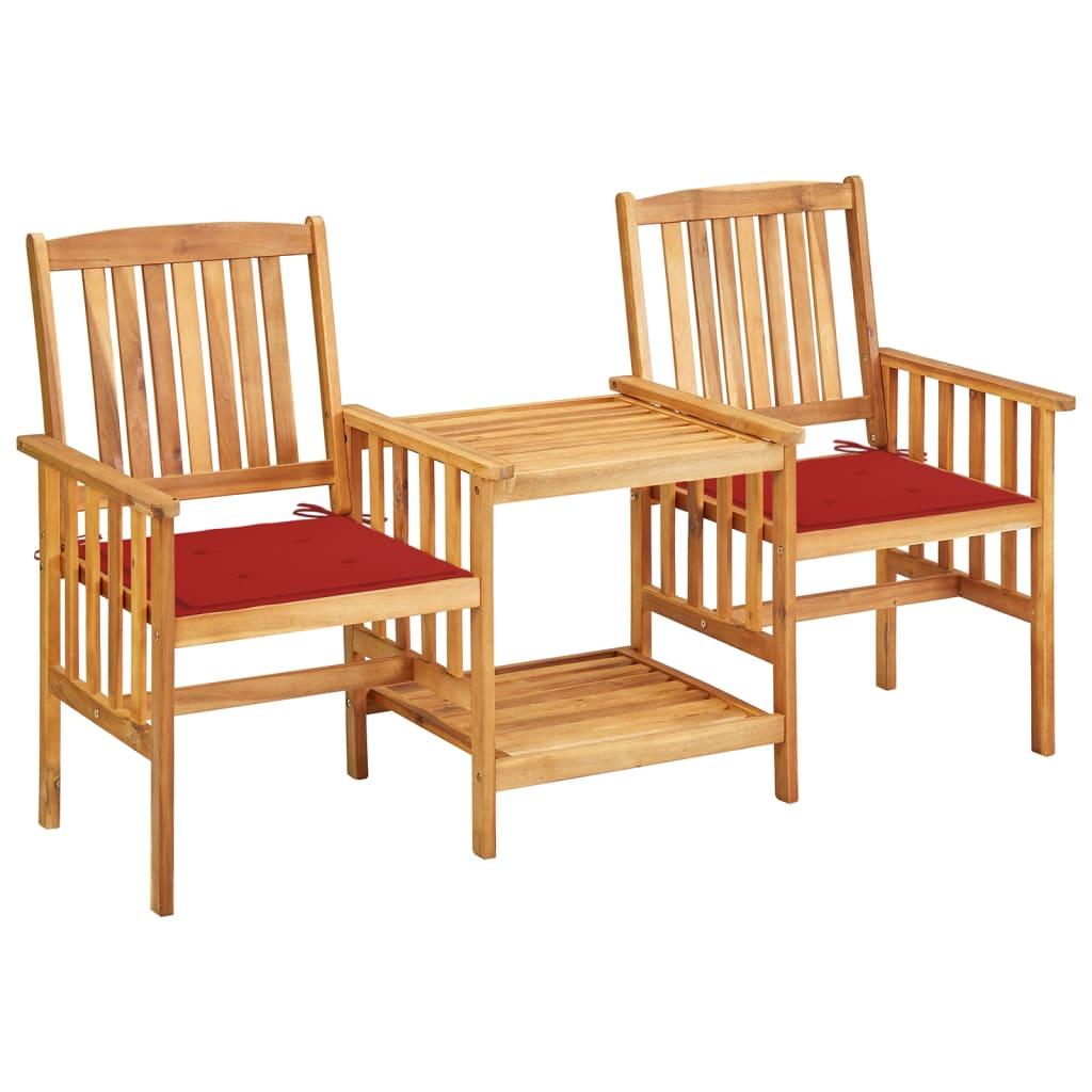 vidaXL Tuinstoelen met tafeltje en kussens massief acaciahout