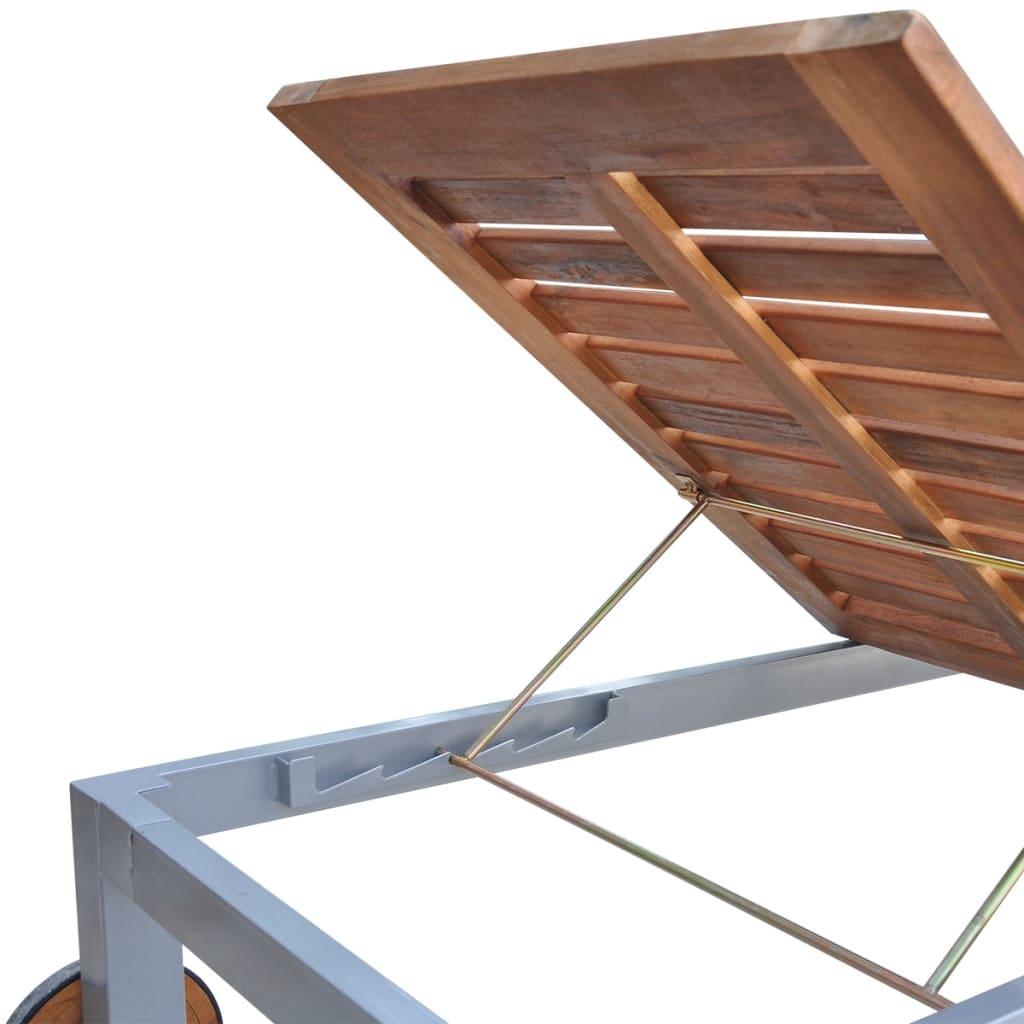 vidaXL Ligbed met kussen massief acaciahout en gegalvaniseerd staal