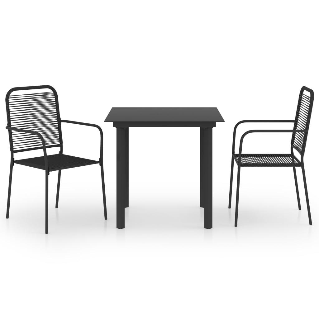 vidaXL 3-delige Tuinset glas en staal zwart