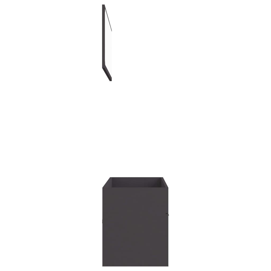 2-delige Badkamermeubelset spaanplaat grijs