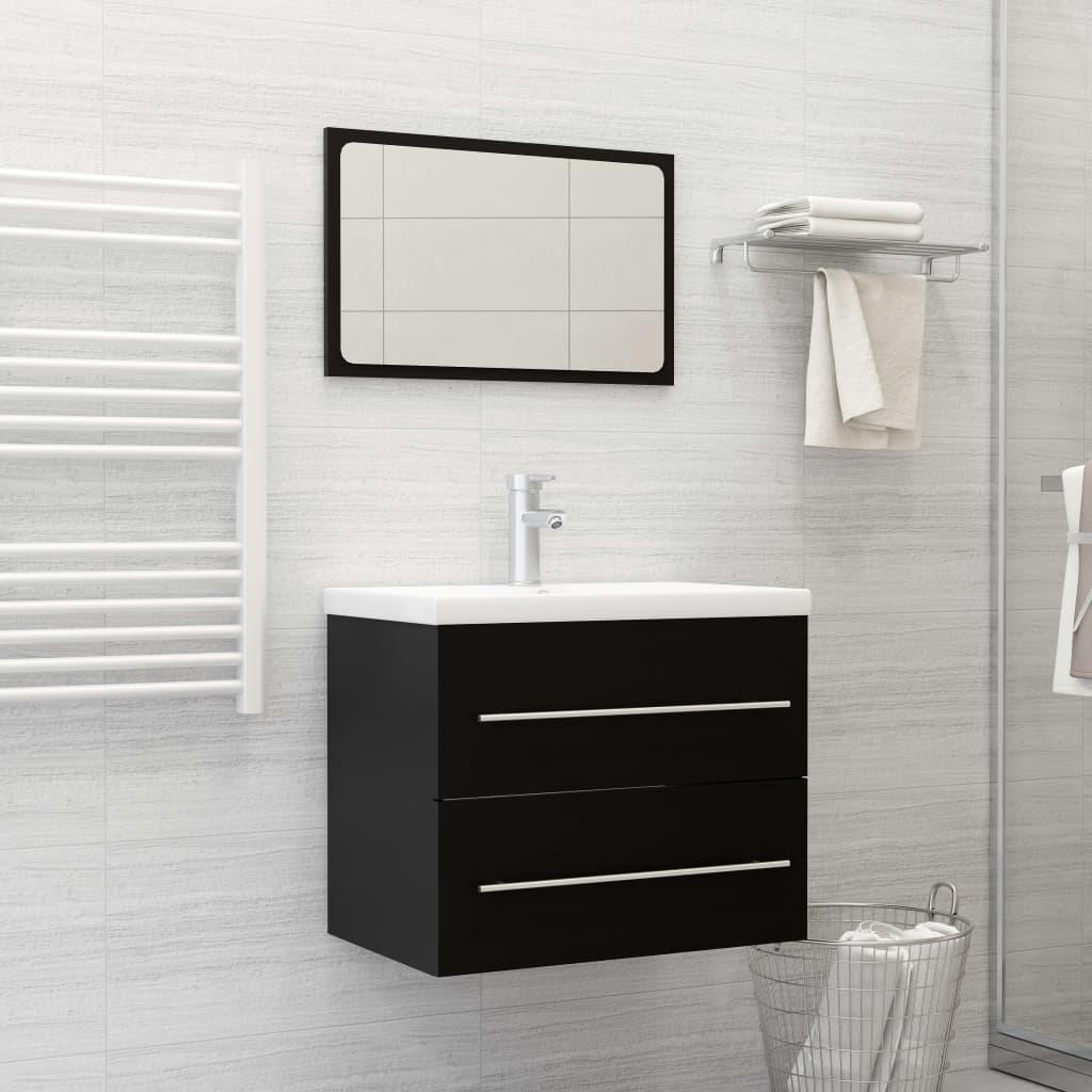 2dílný set koupelnového nábytku černý dřevotříska