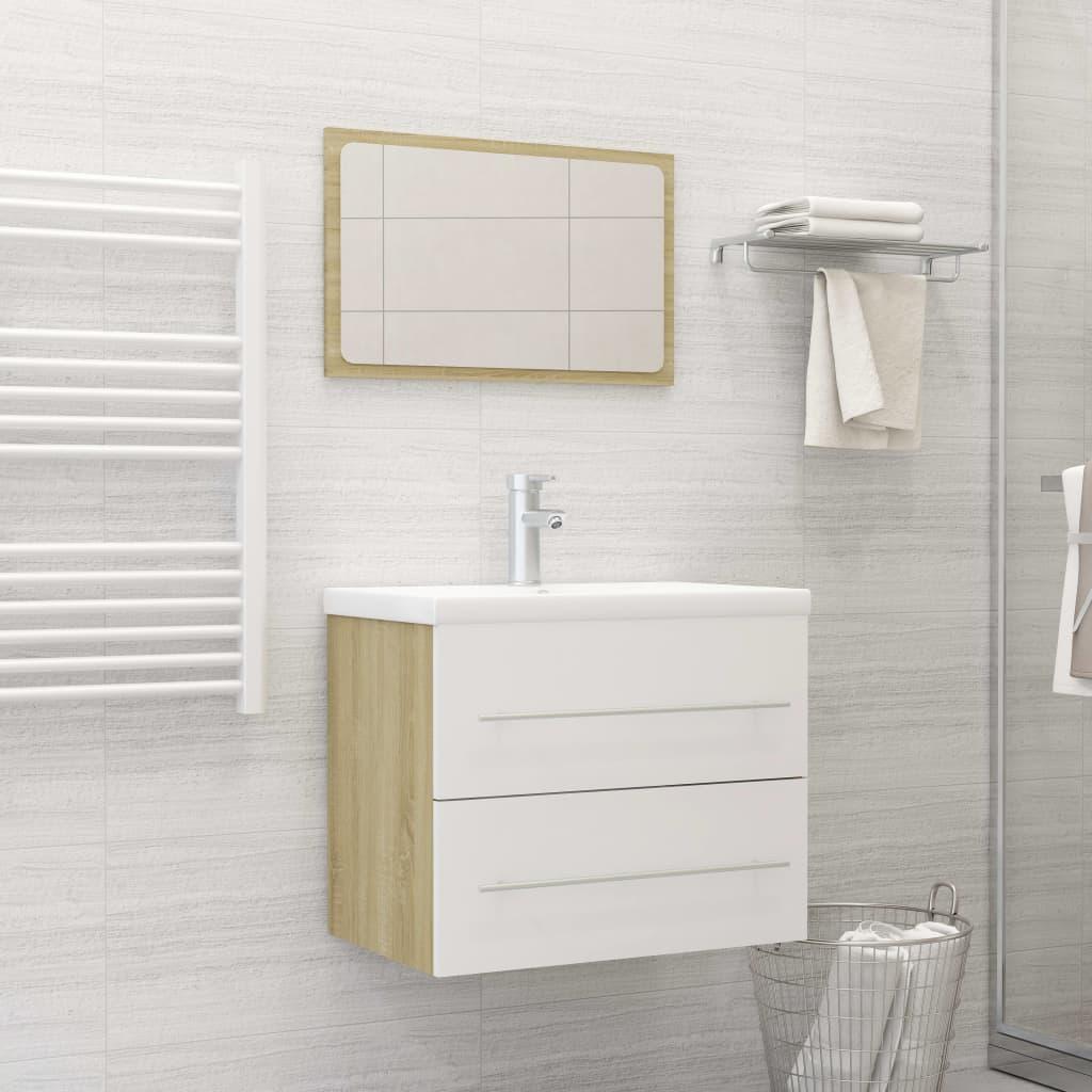 2dílný set koupelnového nábytku bílý a dub sonoma dřevotříska
