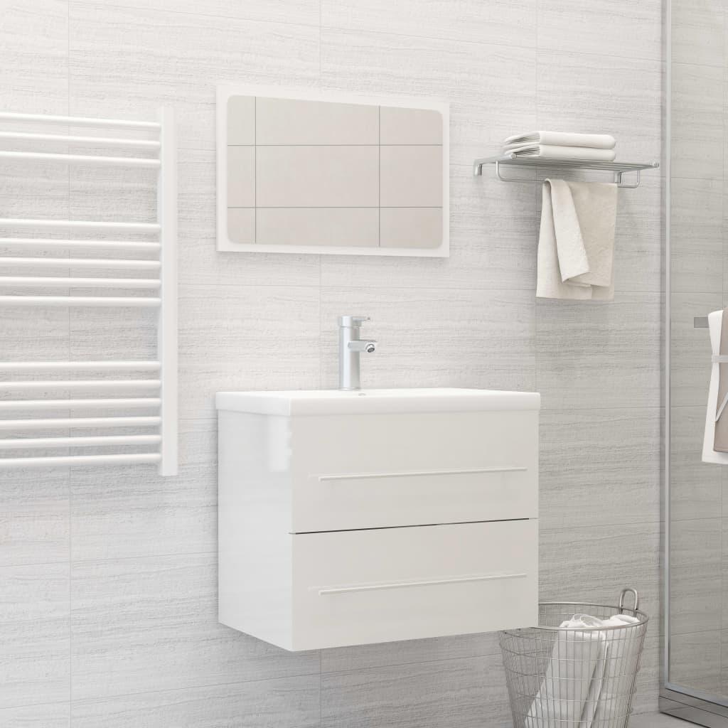 2dílný set koupelnového nábytku bílý vysoký lesk dřevotříska