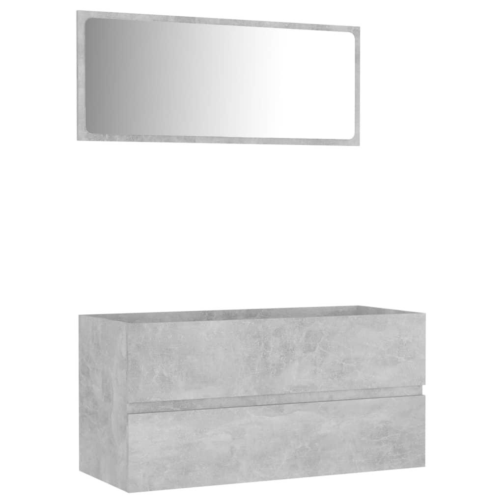 vidaXL 2-delige Badkamermeubelset spaanplaat betongrijs