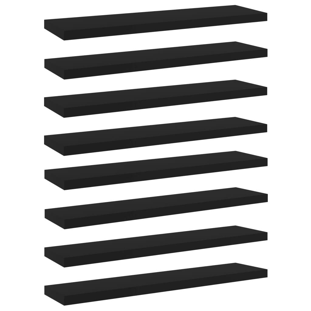 Přídavné police 8 ks černé 40 x 10 x 1,5 cm dřevotříska