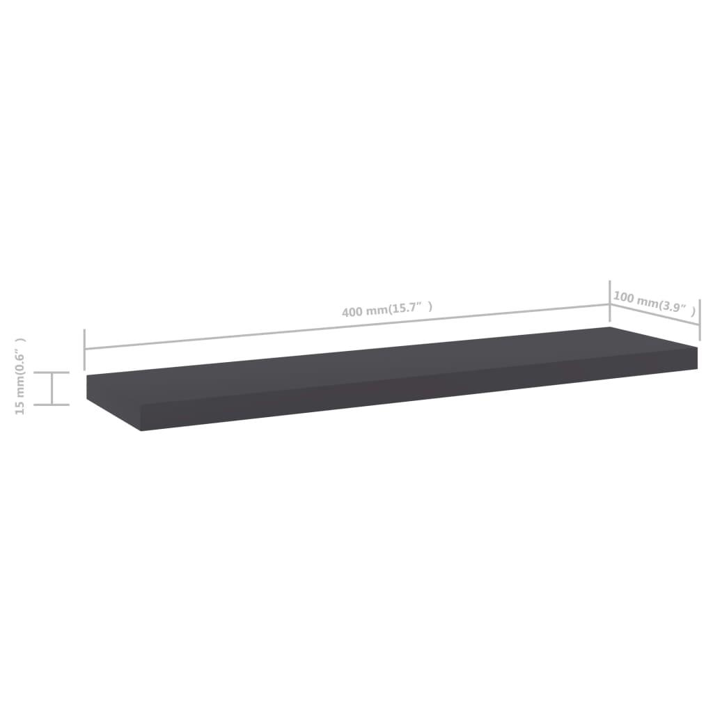vidaXL Wandschappen 4 st 40x10x1,5 cm spaanplaat grijs