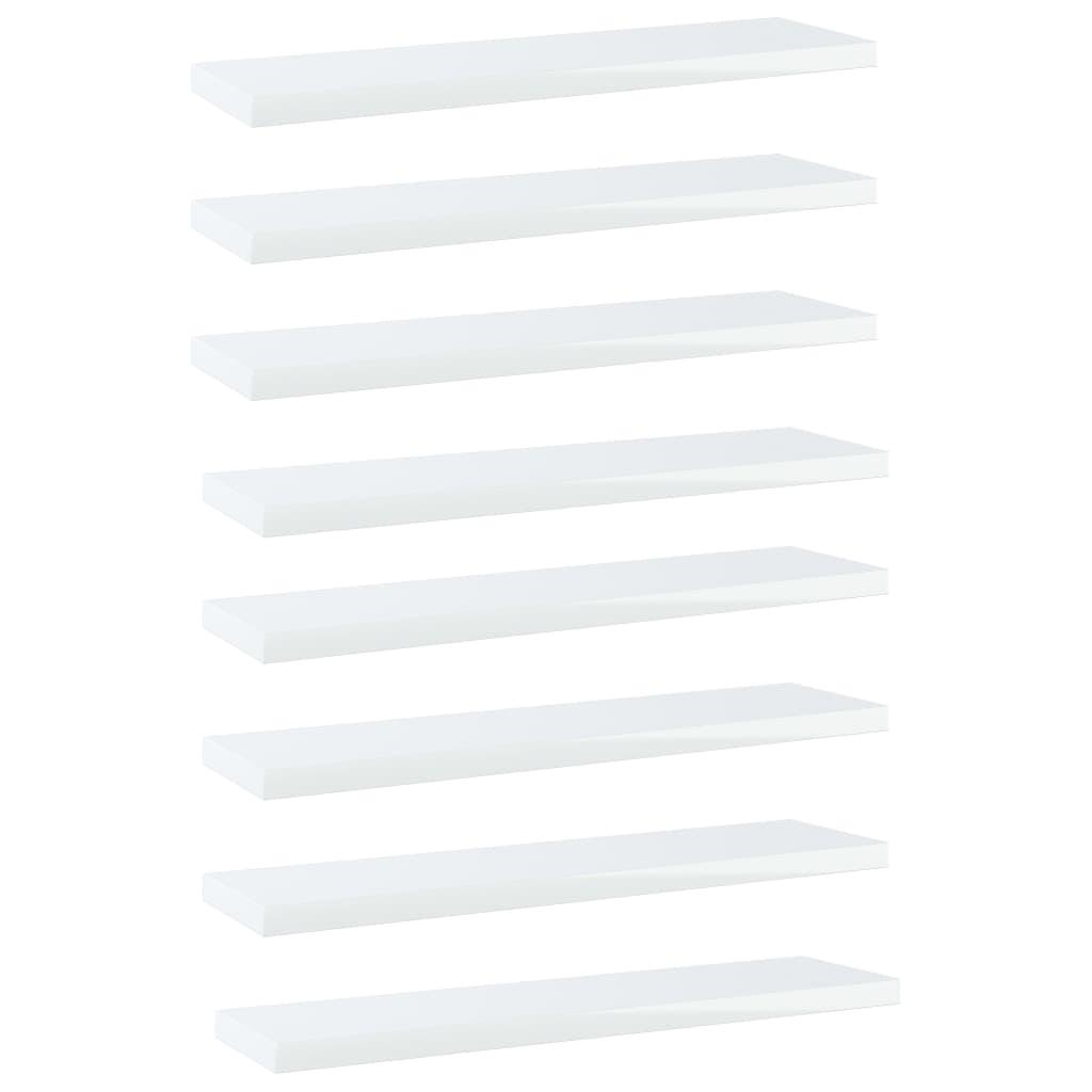 vidaXL Plăci bibliotecă, 8 buc., alb extralucios, 40 x 10 x 1,5 cm PAL poza vidaxl.ro