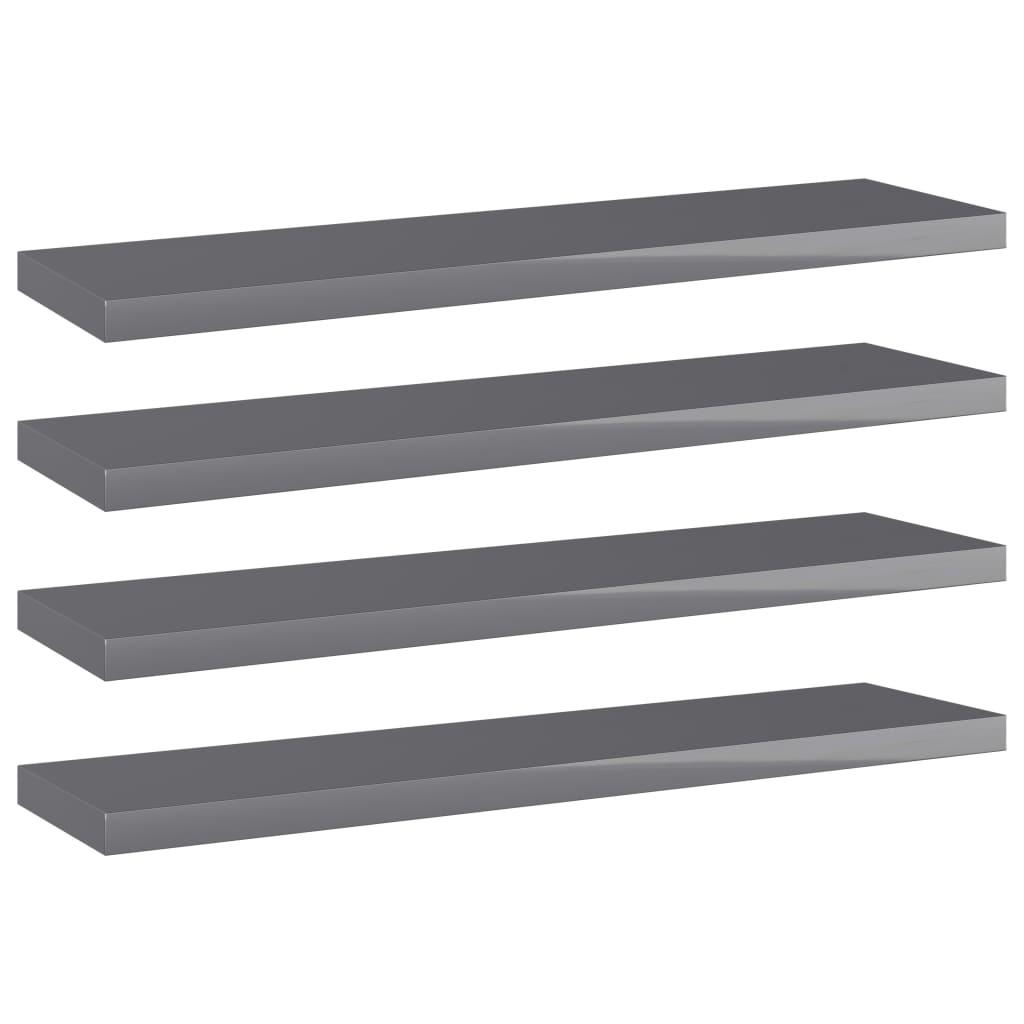 vidaXL Wandschappen 4 st 40x10x1,5 cm spaanplaat hoogglans grijs