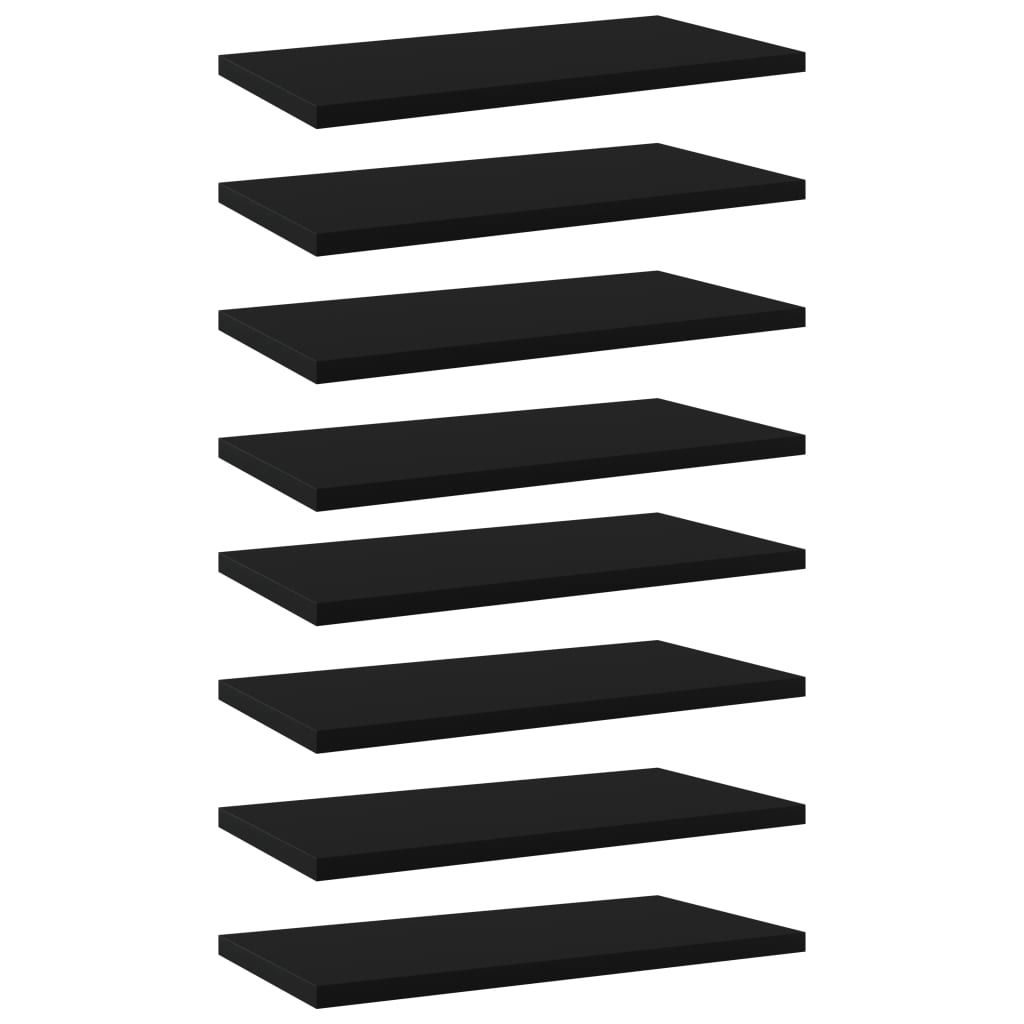 vidaXL Plăci pentru bibliotecă, 8 buc., negru, 40 x 20 x 1,5 cm, PAL imagine vidaxl.ro