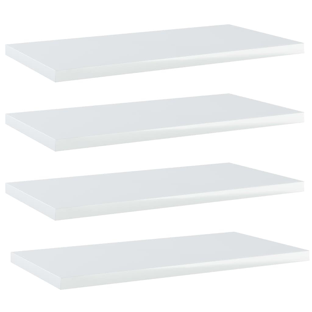 vidaXL Plăci bibliotecă, 4 buc., alb extralucios, 40 x 20 x 1,5 cm PAL poza vidaxl.ro