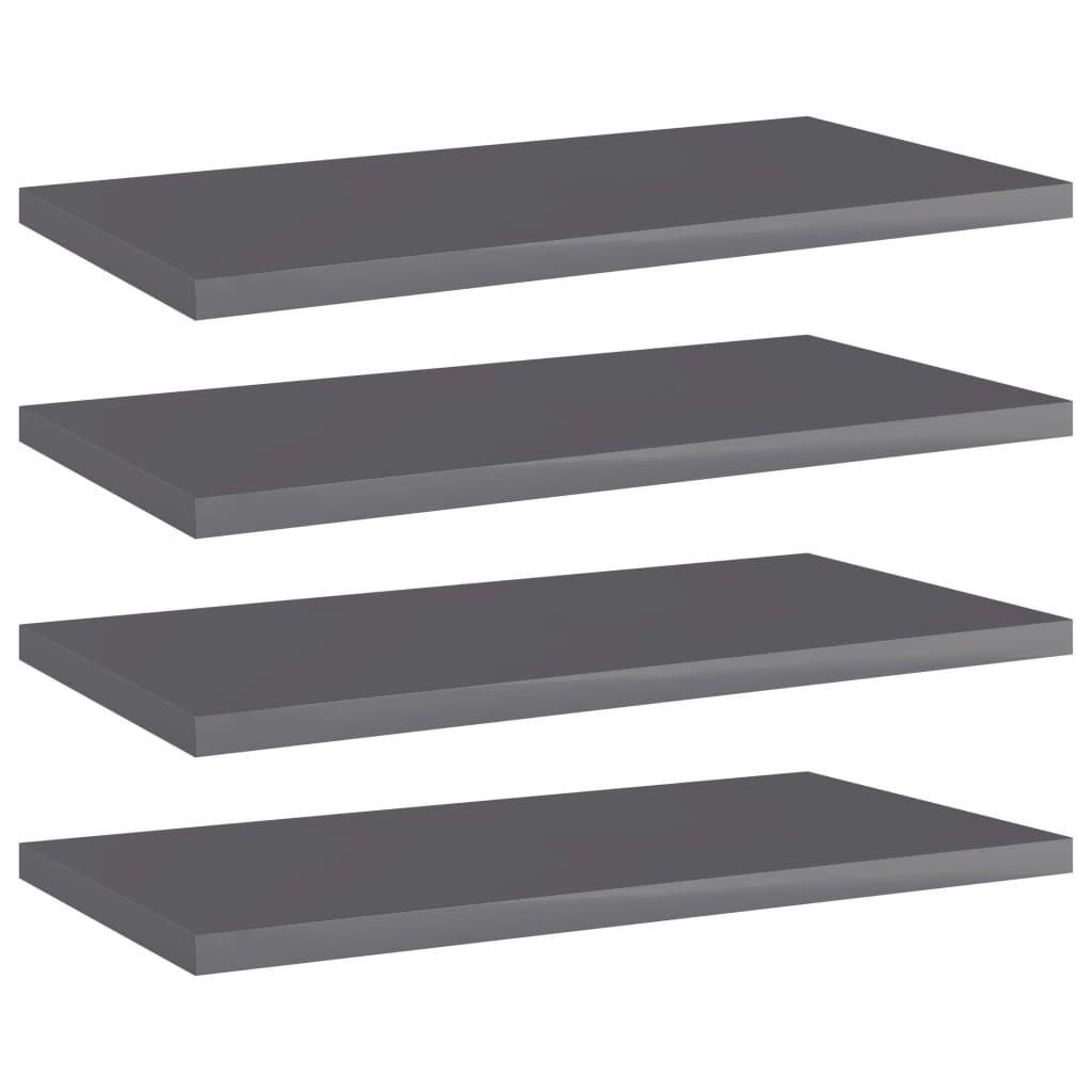 Přídavné police 4 ks šedé vysoký lesk 40x20x1,5 cm dřevotříska