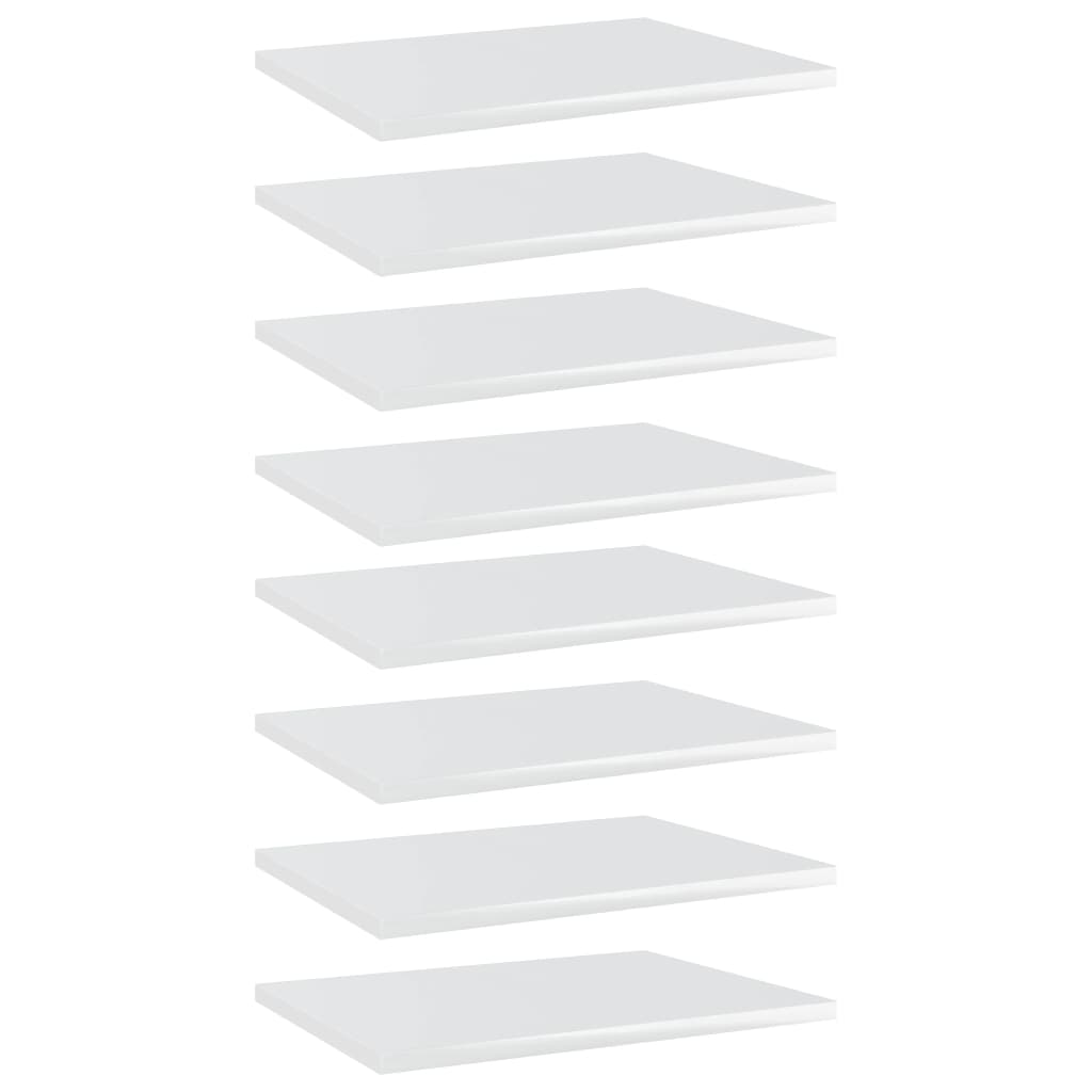 vidaXL Plăci bibliotecă, 8 buc., alb extralucios, 40 x 30 x 1,5 cm PAL imagine vidaxl.ro
