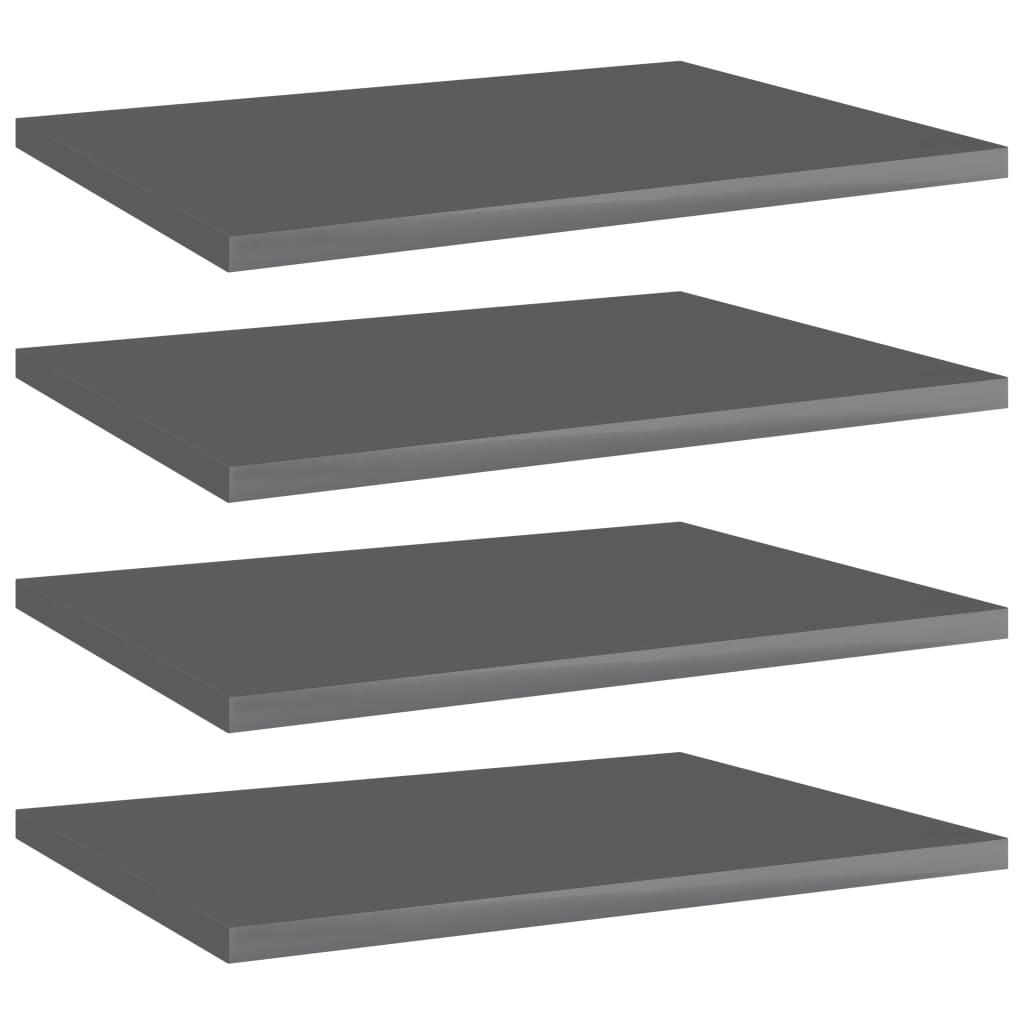 Přídavné police 4 ks šedé vysoký lesk 40x30x1,5 cm dřevotříska