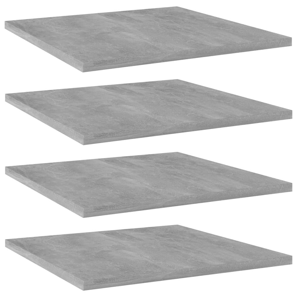Přídavné police 4 ks betonově šedé 40 x 40 x 1,5 cm dřevotříska