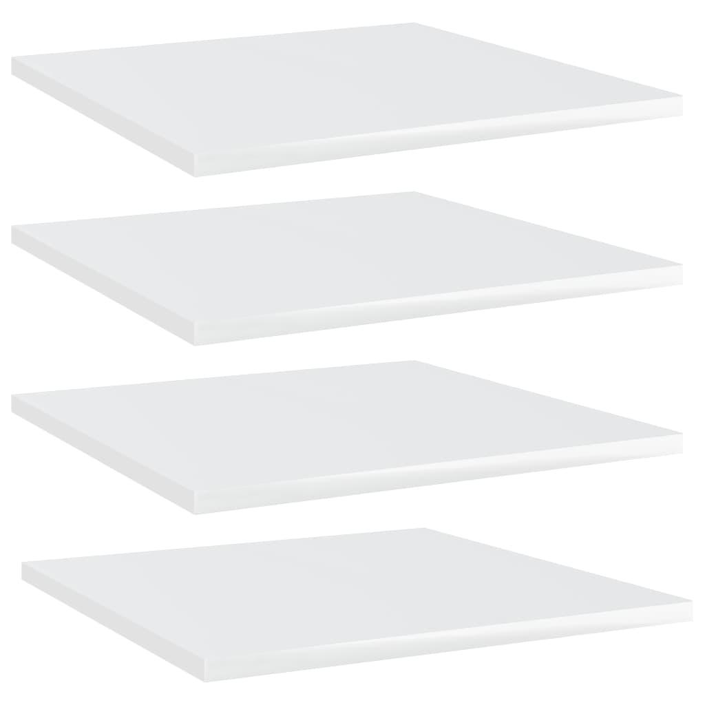 vidaXL Plăci bibliotecă, 4 buc., alb extralucios, 40 x 40 x 1,5 cm PAL imagine vidaxl.ro