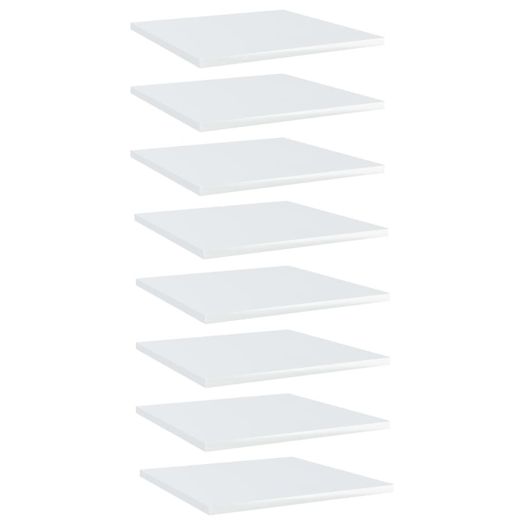 vidaXL Plăci bibliotecă, 8 buc., alb extralucios, 40 x 40 x 1,5 cm PAL imagine vidaxl.ro
